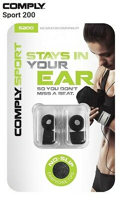 Comply Foam S-200 Sport 2 Pairs In-Ear Earphone Tips Medium Black MP