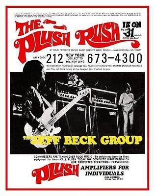 Jeff Beck Group **LARGE POSTER** Ron Wood   Guitar Bass PLUSH Tube amp ad kustom