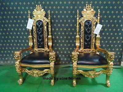 1 x GOLD & BLACK with faux leather Lion King Mahogany Gothic THRONE CHAIR