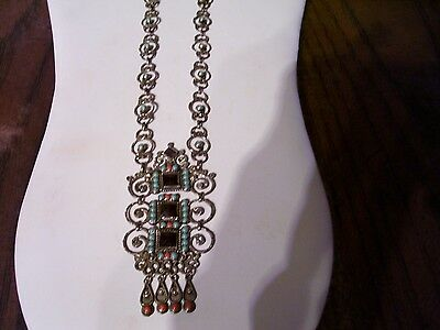 """Vintage Matl Style Necklace By Escorcia Amethyst Turquoise Coral 950  """"Stunning"""""""