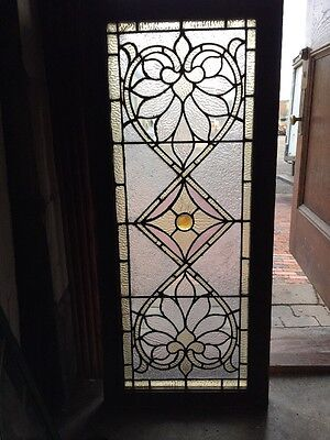 Sg 1062 Antique Stainglass Textured Glass Transom Window 20.25 X 46""