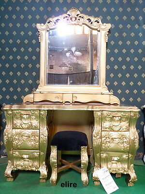 GOLD Dust Rococo Dressing Table mirror & stool ......   for rococo french bed