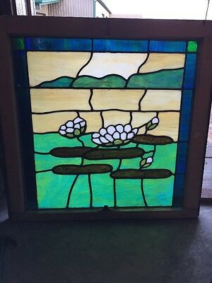 Sg 1066 Antique Stainglass Lillypad Window 30.5 X 29.5 High
