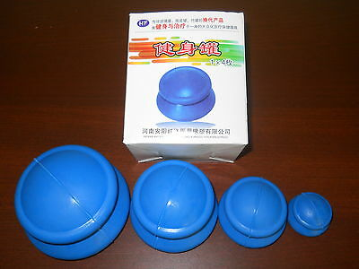Set Of 4 Chinese Rubber Cupping - New, Cellulite Therapy, Massage, Acupuncture