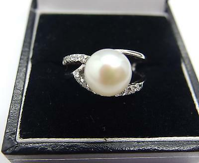 925 Sterling Silver Freshwater Cultured White Pearl Ring Size N 1/2  7 US  #18