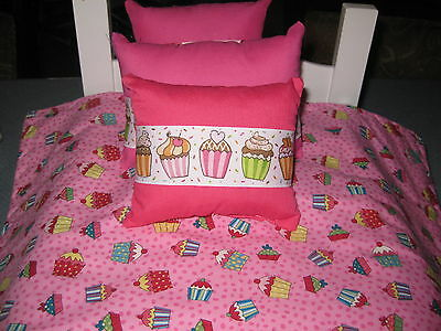 4 Piece Cute American Girl Inspired Cupcake Doll Bedding With Three Pillows