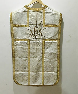 Ancienne Chasuble Liturgique Broderie Fil Or Aube Eglise Religieux Casula TBE