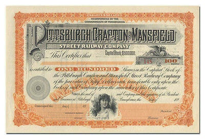 Pittsburgh, Crafton and Mansfield Street Railway Company Stock Certificate