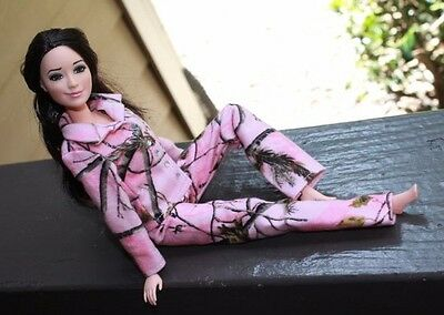 """Clothes for Barbie Doll. """"Real Tree Camo"""" Pink Flannel Pajamas for Dolls."""