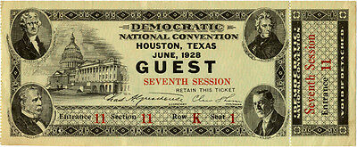 1928 Democratic National Convention Guest Ticket ~ Alfred E. Smith
