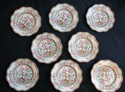 Set of 8 Coalport Bone China INDIAN TREE Salad Plates with Scalloped Edge c 1955