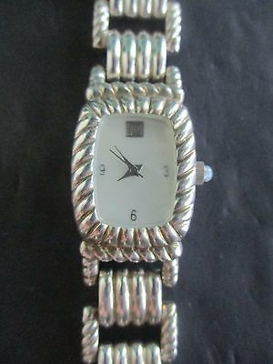 BEAUTIFUL Judith Ripka 925 Sterling Silver Mother Of Pearl Dial Watch w JR Box