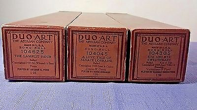 3 Vintage Duo-Art 1919, 1928 Player Piano Song Rolls