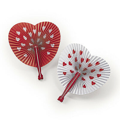 12 Heart Shaped Paper Fans Valentines Day Party Favor