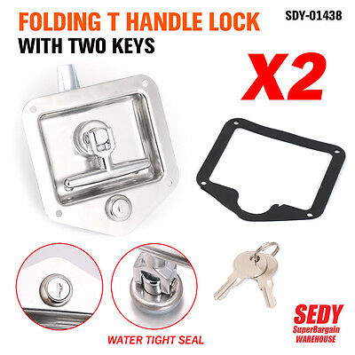 2x T LOCK T HANDLE LOCK RECESSED STAINLESS KEYED ALIKE TRAILER CARAVAN TOOLBOX