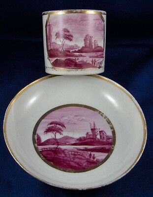 Antique English Porcelain Puce Scenic Cup & Saucer Porzellan Tasse Scene England