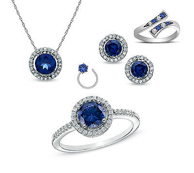 14K White Gold Over 925 Sterling Round Sapphire Cubic Zirconia Halo Jewelry Set