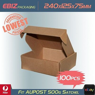 100 Shipping Boxes 240x125x75mm Diecut Mailing Cardboard to 500g Parcel Bag CB18