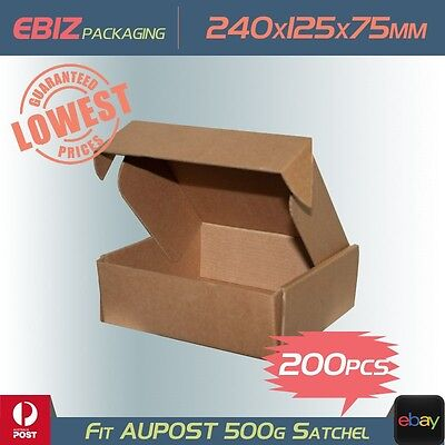 200 Shipping Boxes 240x125x75mm Diecut Mailing Cardboard to 500g Parcel Bag CB18