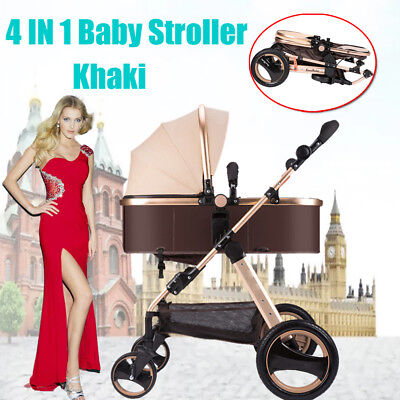 NEW 3 in 1 Baby Toddler Pram Stroller with Bassinet 4 Wheel Compact Black & Red