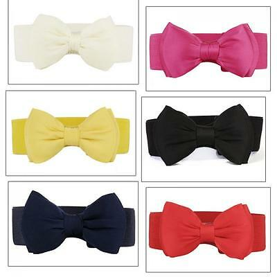 Simplicity Stretch Bow Wide Buckle Elastic Waist Belt Waistband Bowknot Women