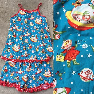 Vintage Space Print Rocket Ship Space Ship Fabric 2 Pc Romper See Measurements