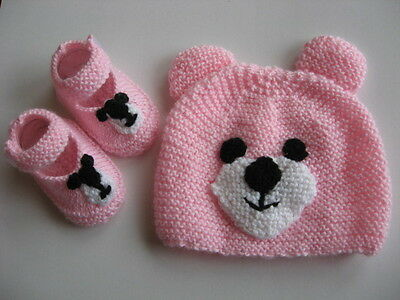 Hand knitted pink teddy bear baby hat & booties to fit 0-3 months old