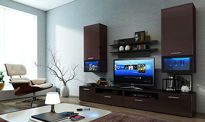 wall unit furniture living room TV stand WENGE color free lights set of 4 pieces