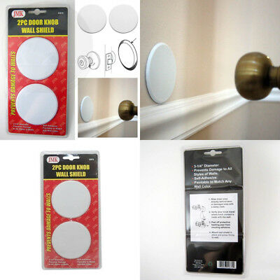 2Pc Door Knob Wall Shield Round White Self Adhesive Protector Prevents Holes