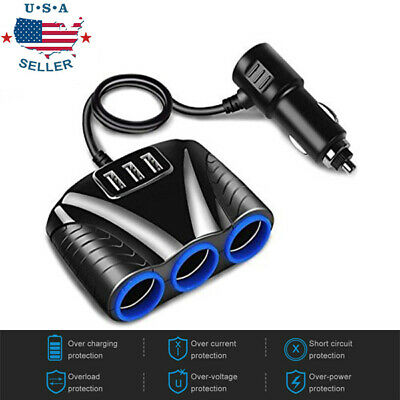 3 way Cigarette Lighter Socket Splitter 12V Three USB Charger Power Adapter Car