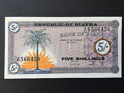 Biafra Five 5 Shillings P1 A/O Prefix Issued 1967 Uncirculated UNC