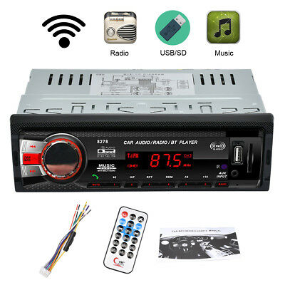 Bluetooth Coche 1DIN FM Radio Estéreo AUX-IN SD MMC USB MP3 Reproductor Receptor