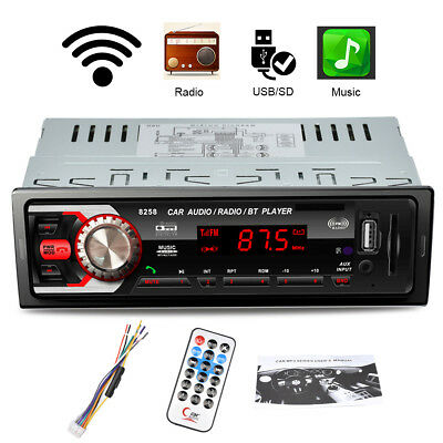 12V 1 DIN Bluetooth Coche Estéreo MP3 Reproductor FM Radio USB SD AUX Receptor