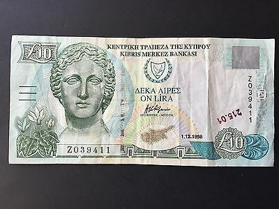 Cyprus 10 Pounds P62a Replacement 'Z' Prefix Dated 1st December 1998 Fine+/aVF