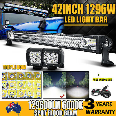 "42""Inch 648W Philips Led Light Bar Spot Flood Offroad Lamp +2X 4"" 30W Work Light"