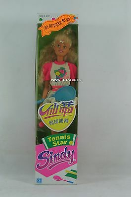 Sindy doll tennis star with blonde hair and japanese stickers NRFB RARE!