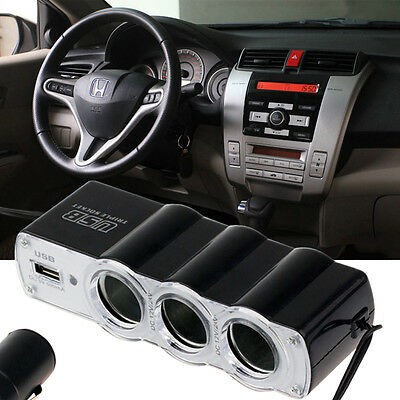 Universal Car 3 Way Cigarette Lighter Splitter USB Port Charger Power Adapter