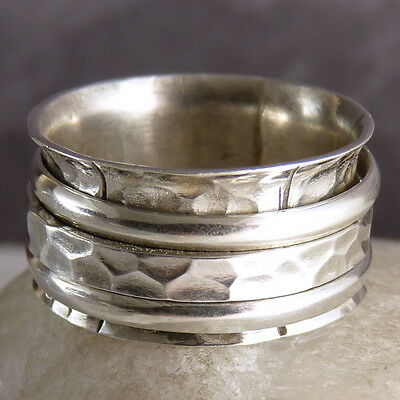 US 7 1/2 ~ Classic SilverSari MEDITATION 3-SPIN Ring ~ 925 Sterling Silver only