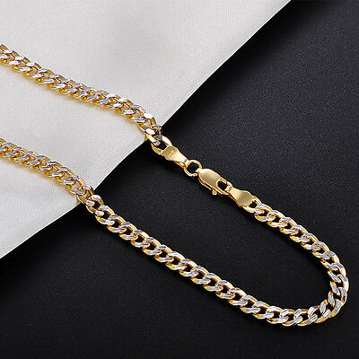 NEW Pure 18K Yellow Gold Necklace Men's 4mm Curb Link Chain 21.6 inch L