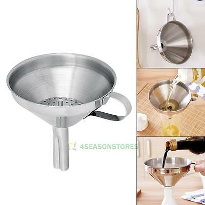 Stainless Steel Funnel with Removable Filter Jam Strainer Decanting Wide Mouth