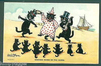 LOUIS WAIN,WRENCH,BROTHER BONES ON THE SANDS, vintage postcard