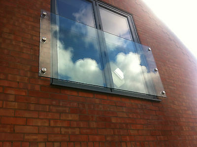 10mm Toughened Glass Juliet Balcony 1600mm x 1100mm with 4 fixings
