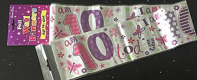 Age 10 Girls Birthday Banner - Butterfly / Flower- can be split into 3 - 10th
