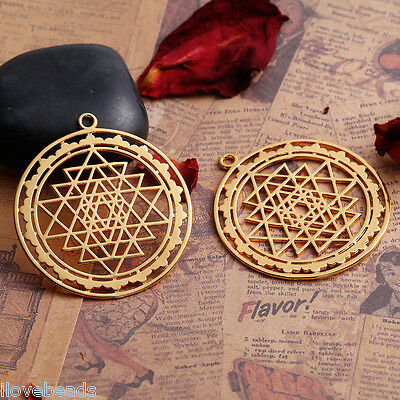 1PC Hollow Gold Plated Sri Yantra Pattern Pendant Necklace Jewelry 4.5x4cm