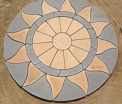 2.56M Aztec Sun Circle Patio Paving Slab Stone Garden