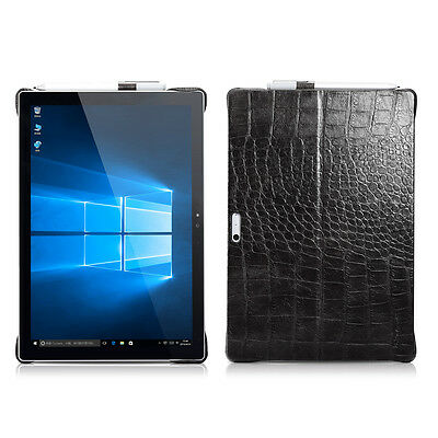 ICARER Genuine Leather PC Hard Kickstand Case Cover for Microsoft Surface Pro 4
