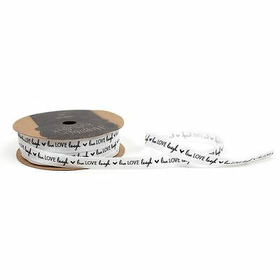 Docrafts Happily Ever After Live Love Laugh Satin Ribbon 10 mm x 10 m Craft
