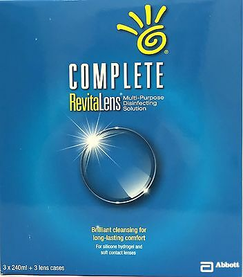 Complete RevitaLens 3x240ml 3 Month Supply Soft Contact Lens Solution