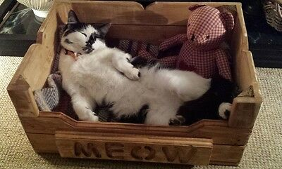 Hand made Wooden Cat Bed or small Dog Bed Rustic Chic