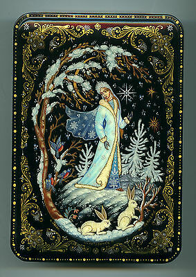 "Russian Lacquer box Palekh. ""Snow Maiden."" Hand Painted"